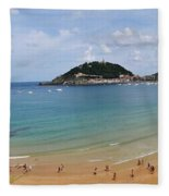 Panoramic View Of Beautiful Beach, San Sebastian, Spain  Fleece Blanket