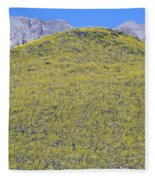 Panoramic View Of Desert Gold Yellow Fleece Blanket