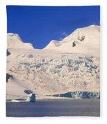 Panoramic View Of Glaciers And Iceberg Fleece Blanket