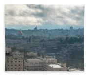 Panoramic View Of Old Jerusalem City Fleece Blanket