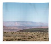 Panoramic View Of Open Desert Field In Nevada With Grand Canyon  Fleece Blanket