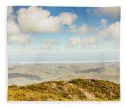 Panoramic Views From Mount Zeehan To Trial Harbour Fleece Blanket