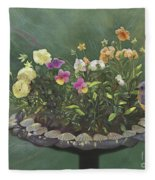 Pansies And Bluebird Fleece Blanket
