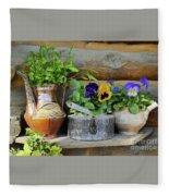 Pansies In Pots Fleece Blanket
