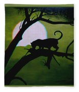 Panther Silhouette - Use Red-cyan 3d Glasses Fleece Blanket