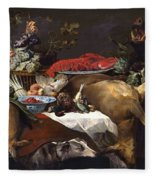 Pantry Scene With Servant By Frans Snyders Fleece Blanket