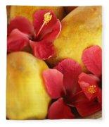 Papaya Fruit And Hibiscus Fleece Blanket