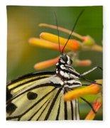 Paper Kite Butterfly With Orange Flower Fleece Blanket