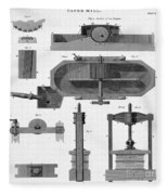 Paper Mill Diagram, 1814 Fleece Blanket