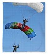 Parachutists Biplane Fleece Blanket