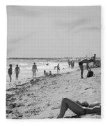 Paradise Beach In Black And White Fleece Blanket