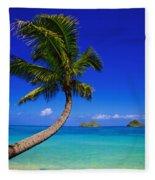 Paradise Palm Over Lanikai Fleece Blanket
