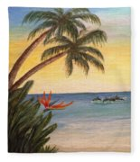 Paradise With Dolphins Fleece Blanket