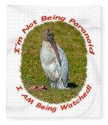 Paranoid Woodstork Fleece Blanket