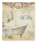 Parchment Paris - Le Bain Or The Bath Chandelier And Tub With Roses Fleece Blanket
