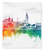Pardubice Skyline City Color Fleece Blanket