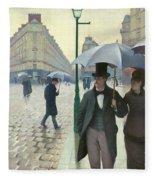 Paris A Rainy Day - Gustave Caillebotte Fleece Blanket