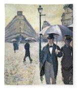 Paris A Rainy Day Fleece Blanket