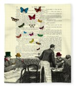 Inside Of A French Bistro At Paris And Rainbow Butterflies Fleece Blanket