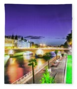 Paris At Night 16 Art Fleece Blanket