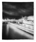 Paris At Night 19 Bw Art  Fleece Blanket