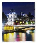 Paris At Night 22 Fleece Blanket