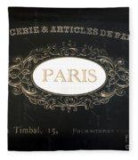 Paris Black And White Gold Typography Home Decor - French Script Paris Wall Art Home Decor Fleece Blanket