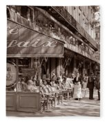 Paris Cafe 1935 Sepia Fleece Blanket