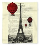 Paris, City Of Love Fleece Blanket