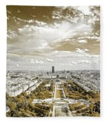 Paris City View 20 Sepia Fleece Blanket