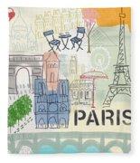 Paris Cityscape- Art By Linda Woods Fleece Blanket