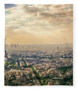 Paris Eiffel Skyline And Cityscape Aerial View At Sunset From Montparnasse Tower Observation Deck  Fleece Blanket