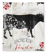Paris Farm Sign Cow Fleece Blanket