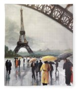 Paris Fog Fleece Blanket