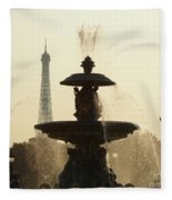 Paris Fountain In Sepia Fleece Blanket