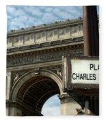 Paris France. Larc De Triomphe On Place Charles De Gaulle Fleece Blanket