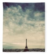 Paris, France Skyline With Eiffel Tower. Dark Clouds, Vintage Fleece Blanket