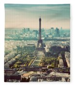 Paris, France Vintage Skyline, Panorama. Eiffel Tower, Champ De Mars Fleece Blanket