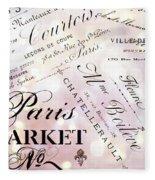Paris French Script Wall Decor - French Script Letters Typography - Paris French Script Wall Decor Fleece Blanket