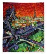 Paris Gargoyle Contemplation Textural Impressionist Stylized Cityscape Fleece Blanket