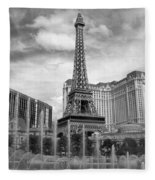 Paris Hotel - Las Vegas B-w Fleece Blanket
