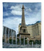 Paris Hotel And Bellagio Fountains Fleece Blanket