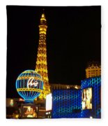 Paris Hotel At Night Fleece Blanket