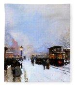 Paris In Winter Fleece Blanket