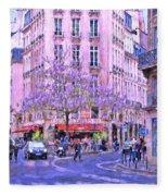 Paris Intersection Fleece Blanket