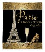 Paris Is Always A Good Idea - Audrey Hepburn Fleece Blanket