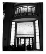 Paris Louis Vuitton Boutique - Louis Vuitton Paris Black And White Art Deco Fleece Blanket