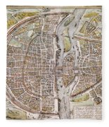 Paris Map, 1581 Fleece Blanket
