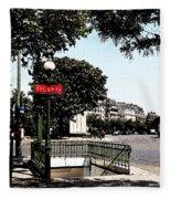 Paris Metro Fleece Blanket