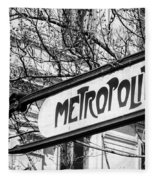 Paris Metro Sign Bw Fleece Blanket